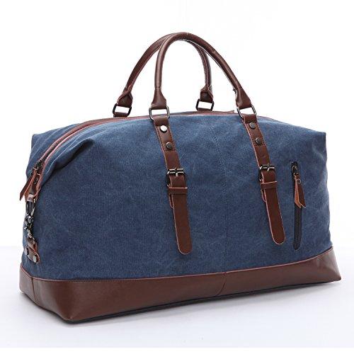 Limirror Borsa da viaggio in tela, stile vintage, borsa sportiva, per uomo e donna con grande capacità Blu Blu L