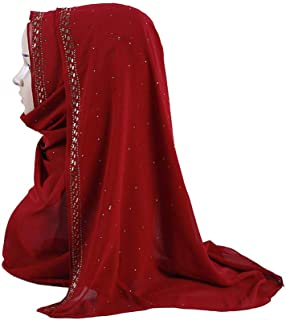 UJUNAOR Shimmer Sparkle Gold Glitters Plain Chiffon Muslim Hijab Scarf Shawl Head Wrap Solid Large Cancer Cap