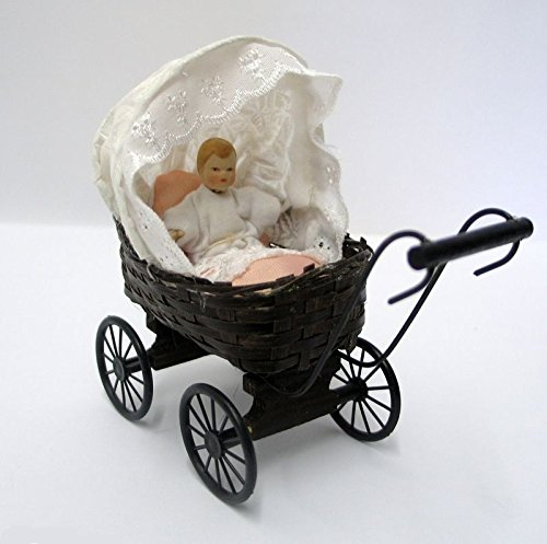 Puppenwagen Geflochten Puppe U. Kissen Puppenhaus Dekoration Miniaturen 1.12