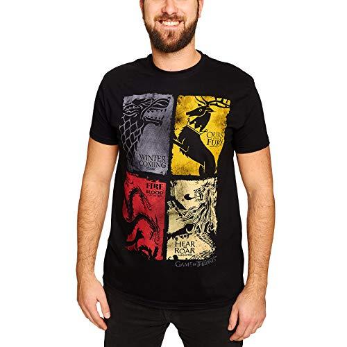 Game of Thrones Lannister Stark Targaryen Baratheon Wappen distressed T-Shirt schwarz Elbenwald lizenziert - M