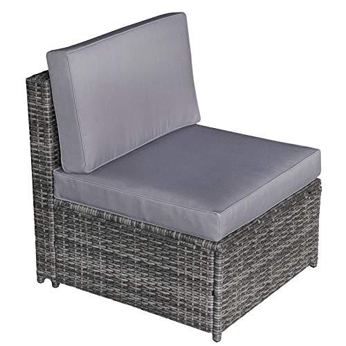 Outsunny 8-TLG. Polyrattan Gartengarnitur Gartenmöbel Garten-Set Sitzgruppe Loungeset Loungemöbel Beistelltisch als Aufbewahrungskorb Grau Stahl + Polyester 58 x 58 x 37 cm - 4