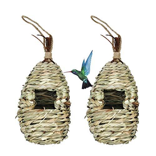 Hummingbird Bird House, Hanging Birdhouse Bird Nest Fiber Hand-Woven Roosting Pocket Sparrow House for Finch & Canary(2 Pcs)