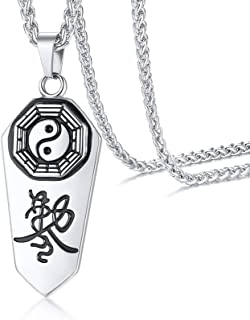 PJ Jewelry Mens Taoist Symbol Amulet Pendant Stainless Steel Yin Yang Exorcism Protection Ghost Hunter Necklace