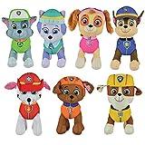 Paw Patrol Plush 7 Pcs Character Plush Set Chase Rubble Marshall Skye Everest Zuma Rocky 8' Stuffed Doll