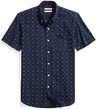 Amazon Brand - Goodthreads Men's Slim-Fit Short-Sleeve Printed Poplin Shirt, Navy Ground Anchor, Medium