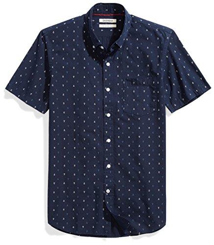 Amazon Brand - Goodthreads Men's Slim-Fit Short-Sleeve Printed Poplin Shirt, Navy Ground Anchor, Large
