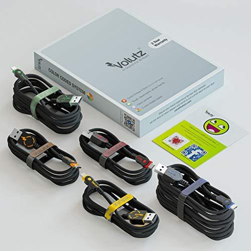 Volutz Micro USB Kabel 5er Pack (3m, 2m, 3x1m) Nylon USB Micro Handy Schnellladekabel kompatibel für Samsung S7/S6/A6, Huawei P9 Serie/Y6p/Y5p, Sony, Huawei, Kindle, Xbox One/PS4 Controller, und mehr