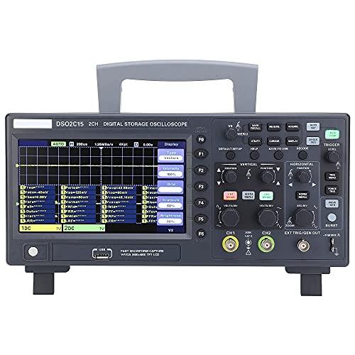Hantek DSO2C15 - Osciloscopio de almacenamiento digital (2 canales, doble canal, 150 MHz, ancho de banda 1 GSa/s (canal único) 500 MSa/s (canales duales)