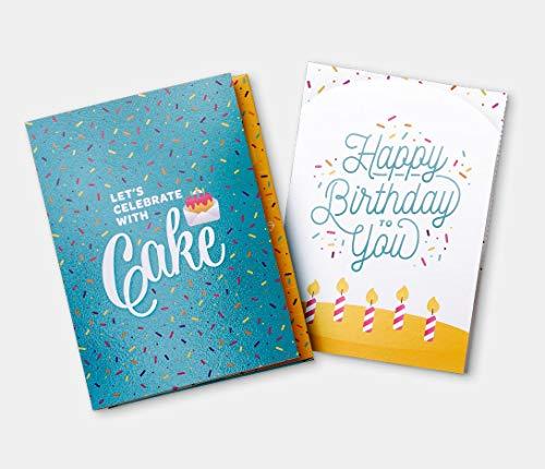 INSTACAKE CARDS - Happy Birthday Cake Card - Let's Celebrate with Cake Birthday Card! – Includes Single Serve Mug Cake! Teal Gluten Free Vanilla Confetti Cake Mix