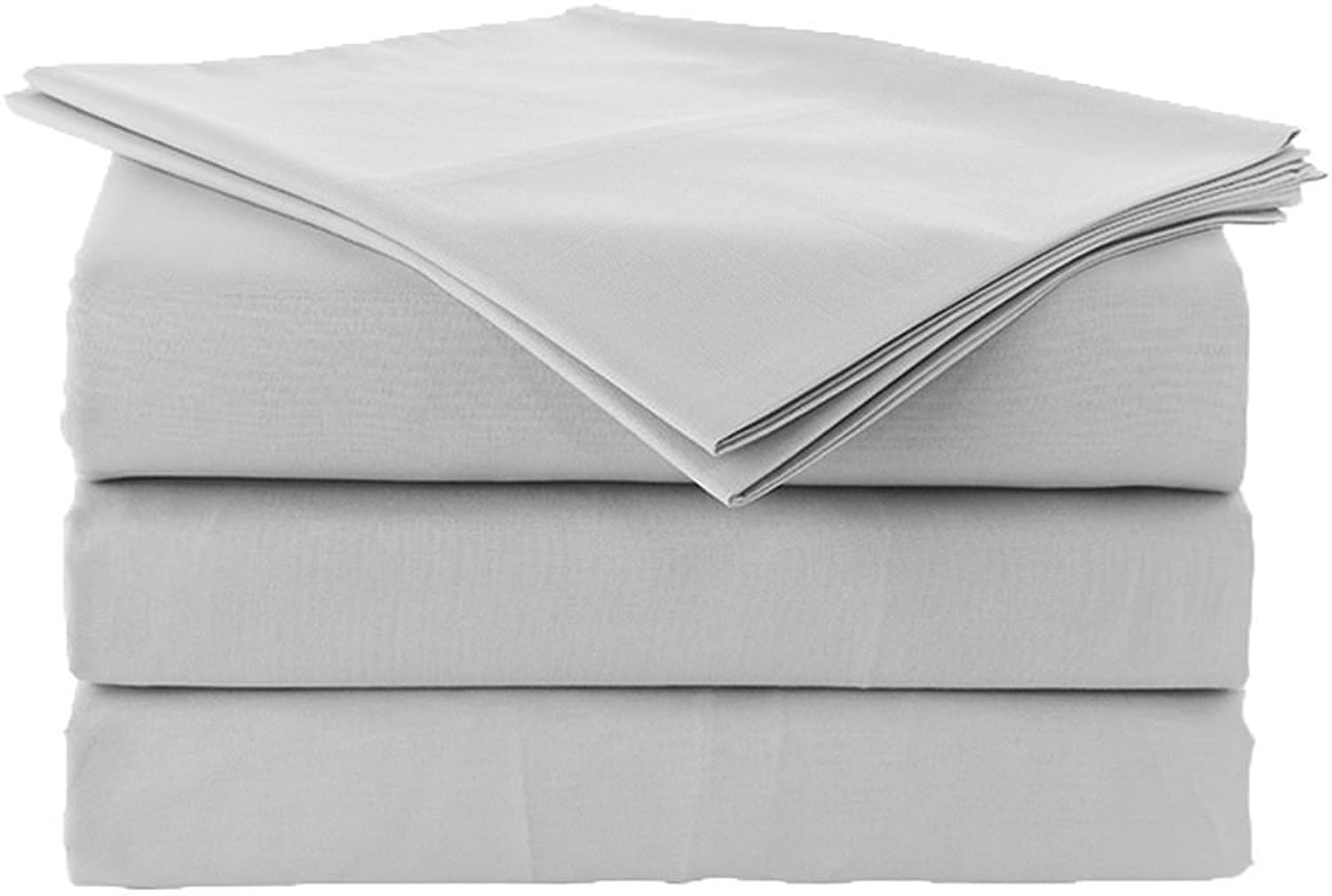 CottonSheets Set California KingSize 100% Cotton 600 ThreadCount Fits 12  to 18'' Inch Deep Pocket Bed Sheets SetLight Grey Solid