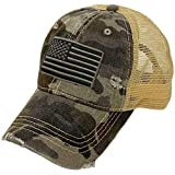 CC Everyday Distressed Trucker Mesh Summer Vented Baseball Sun Cap Hat (American Flag Camo Gray)