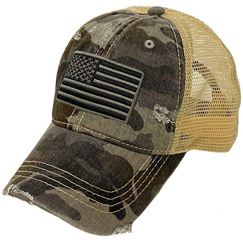 CC Everyday Distressed Trucker Mesh Summer Vented Baseball Sun Cap Hat (American Flag Camo Gray)