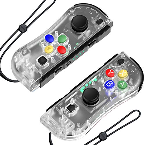 Hohhon Joy Pad Controllers Replacement for Nintendo Switch, L-R Wireless Gamepad as Alternative to NS Controllers, Switch Remote Controller with Wrist Straps and Charging Cable (Clear)