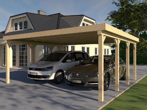 Carport Flachdach AVUS III 600 x 600 cm KVH Bausatz Konstruktionsvollholz
