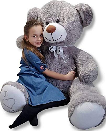 Teddybär Plüschbär Kuscheltier Stofftier Schmusebär Teddy Geschenkidee 160cm (Farbe: grau-weiß)