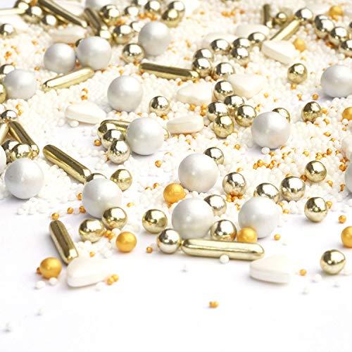 my Sprinkles 180g Streusel Cinderella weiss gold Zuckerstreusel Weihnachten - Zucker Streusel perfekt für Weihnachten Silvester Plätzchen Torte
