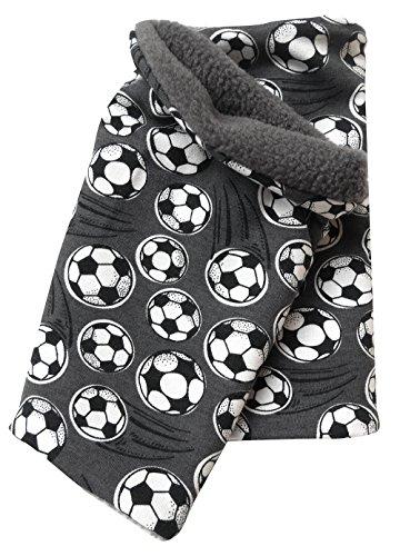 Wollhuhn Warmes Halstuch, Zaubertuch, Schlupfschal, Schal Fußball grau/anthrazit für Jungen und Mädchen, Innenseite aus Fleece, 20161001