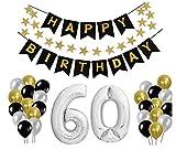 E.For.U Decorazioni Compleanno 60 Anni, Palloncini Compleanno 60 Anni Argento, Happy Birthday 60 - Nero Striscione di Happy Birthday + XXL Grande Pallone 60 in Argento + Lattice Ballon