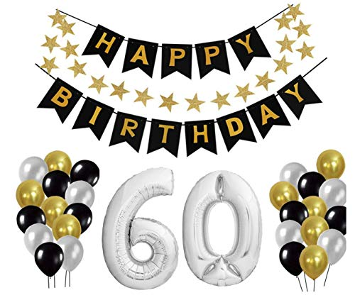 60 Geburtstag Dekoration Set, Deko Geburtstag, Geburtstagsdeko, Happy Birthday Dekoration. Zahlen Luftballons Silber XXL + 24 Große Geperlte Ballons + 1 Happy Birthday Banner (60)