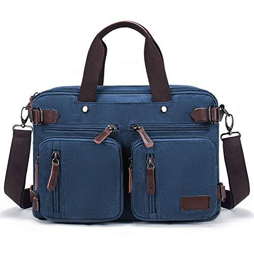 Fresion Umhängetaschen Herren, Laptoptasche oder Schultasche - Canvas Vintage Umhängetasche wandelbar in einen Rucksack,14-Zoll Laptop Business Tasche für Arbeits Büro, Blau