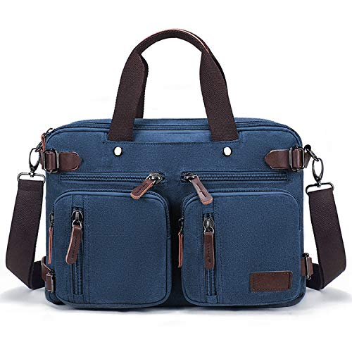 Convertible Bag Laptop Backpack Fits 14' Laptop Multi-Purpose 3 in 1 Business Messenger Bag with Adjustable Straps Canvas Travel Briefcase for Men Women,Blue