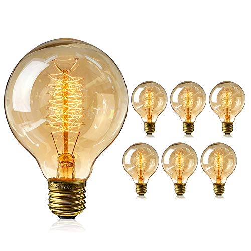 Gluehbirnen Vintage, 6 Stück Edison Vintage Glühbirne E27 40W Retro Glühbirne Antike Beleuchtung Globe Glühlampe Warmweiß E27 Nostalgie Lampe für Retro Beleuchtung im Haus Café Esstisch Industrie