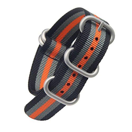 20mm bande un pezzo di orologi in nylon stile perlon cinghie degli uomini squisiti del nero/grigio/arancio di lusso