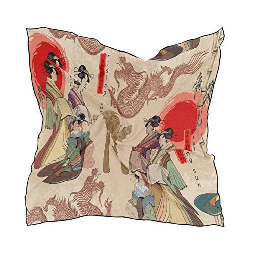 QMIN Bufanda cuadrada de geisha japonesa de dragón chino a la moda de pañuelo ligero para el pelo, diademas para el cuello, bufandas ordenadas para mujeres, 60 x 60 cm