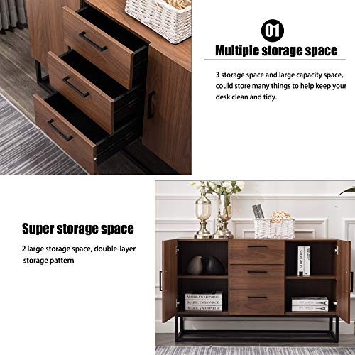 CANMOV-Modern-Sideboard-Storage-CabinetBuffet-Table-Kitchen-Storage-with-Three-Storage-Drawers-Two-CabinetsBrown