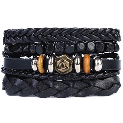 Mix 4 Wrap Bracelets Men Women, Hemp Cords Wood Beads Ethnic Tribal Bracelets, Leather Wristbands (F)