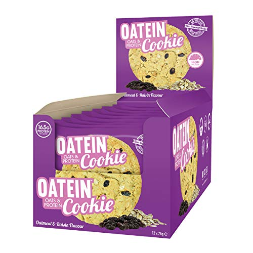Oatein Cookie (12 x 75g) – High Protein Cookie Bar With Oats Complex Carbohydrate Healthy High Fibre Vegetarian Snack Cookies – Oatmeal & Raisin