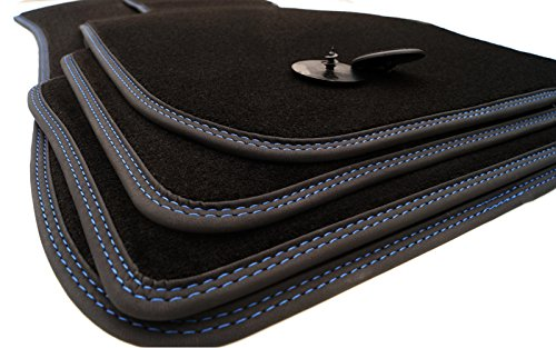 BMW Fußmatten E90 E91 (Allrad) Velour Doppelnaht blau - Automatten Premium 4-teilig