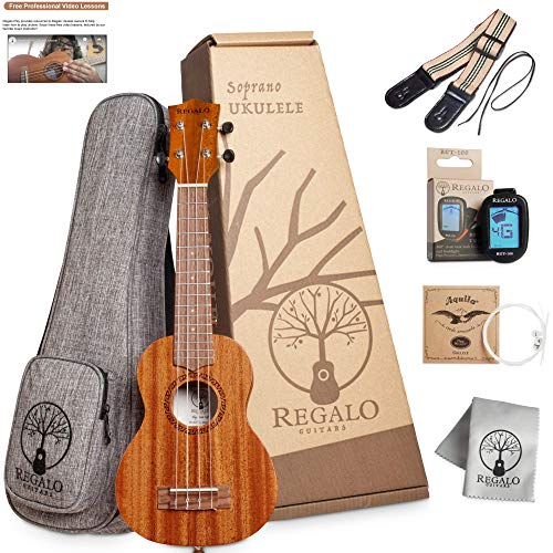 Soprano Ukulele Regalo Guitars Play Your Gift 21-Inch Ukelele Starter Kit Professional small Wooden Guitar Ukalalee Bundle Free Video Lessons, Bag, Tuner, Strap, Polishing Cloth, Aquila Strings Set