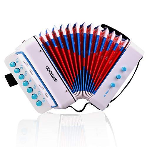 ammoon ミニ アコーディオン ピアノアコーディオン10鍵 初心者セット 子供 初心者 楽器 知育玩具