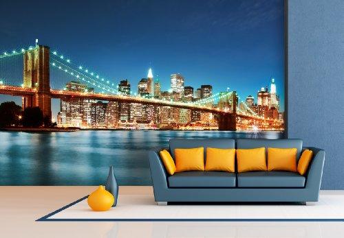 XXL-behang fotobehang Brooklyn Bridge in verschillende maten - naar keuze als papier of vliesbehang