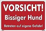 Kleberio Warn Schild 30 x 20 cm - Vorsicht! Bissiger Hund Betreten auf eigene Gefahr - mit 4 Bohrlöchern (4mm) in den Ecken stabile Aluminiumverbundplatte