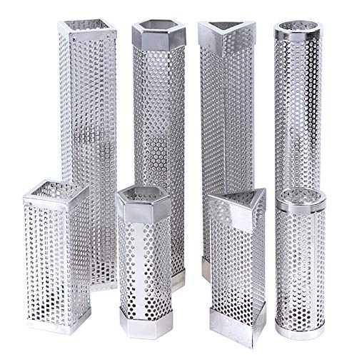 LBWNB Pipa De Fumar De Barbacoa Hexagonal 316L Guía De Humo con Orificio De Diamante Pipa De Humo Hexagonal De 6 Pulgadas 12 Pulgadas/Hexágono de Plata