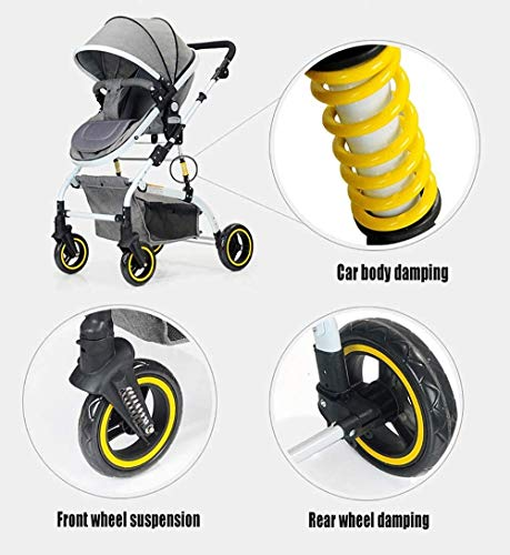 LAMTON Baby Stroller High Landscape, City Jogging Four-Wheel Collapsible Two-Way Shock Adjustable Baby Stroller to Send Mosquito Net Cotton Pad Foot Cover Wrist Band, Suitable for 0-36 Months Baby LAMTON This double stroller features an aeronautical aluminum frame that makes it lighter and stronger, and the fabric is made from linen for a more breathable and refreshing look. The front wheel design of the stroller can be rotated 360°, the built-in spring shockproof, strong shockproof, adapt to a variety of review roads, making the baby more comfortable. Stroller configuration: equipped with a five-point seat belt, detachable armrests, adjustable pusher height, and an enlarged basket at the bottom. 2