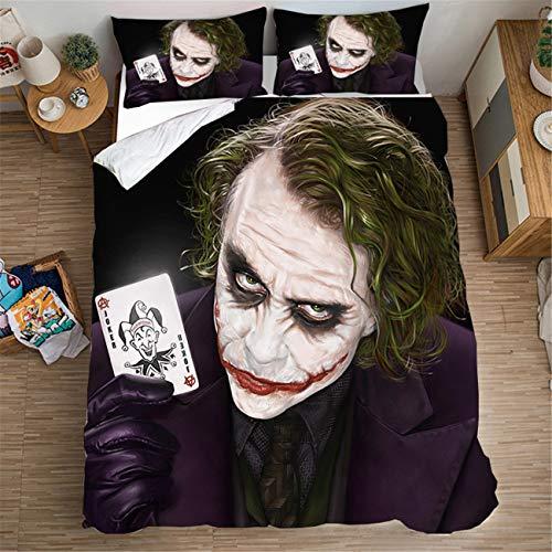 AMTAN 3D The Joker Duvet Cover Queen Size New Popular Movie Clown Bedding 100% Microfiber Kids Teenagers Adult Boys Bed Set 3pcs 1 Duvet Cover 2 Pillowcase