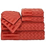 Lavish Home 6-Piece Cotton Deluxe Plush Bath Towel Set – Chevron Patterned Plush Sculpted Spa Luxury Decorative Body, Hand and Face Towels (Brick)