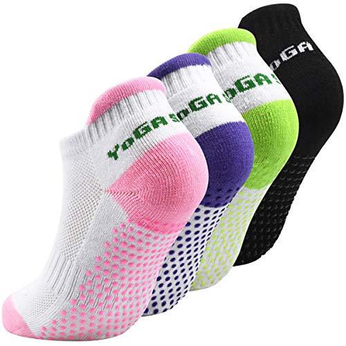 4 Paare Yoga Socken Anti Rutsch für Damen, ABS Pilates Socken Stoppersocken für Laufen, Tanz, Ballett, Sport Größe 35-39