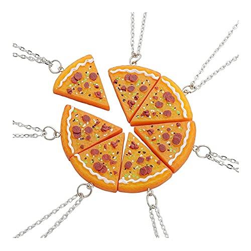 XCSM 7 Piezas Lindo Collar de Pizza Mejores Amigos para Siempre Collar para Mujeres Hombres niños joyería de la Amistad Regalos