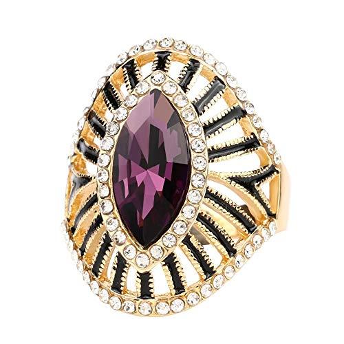 GMZWW Mode Lila Kristallglas Verlobungsring Schwarz Emaille Cz Zirkon Gold Farbringe Für Frauen Vintage Schmuck 9 Rot