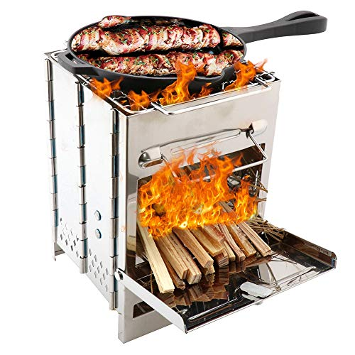 iFCOW Estufa de leña de camping portátil al aire libre plegable de acero inoxidable estufa de leña cuadrada