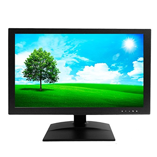 """1stPV 18.5"""" Wide Screen Security LED LCD Monitor w/VGA BNC Inputs and BNC Output Audio Video Display Speakers for CCTV DVR Home Office Surveillance Secure System Black"""