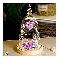 枯れない花 ローズフラワーお祝いは永遠に不滅ローズフレッシュローズガラスカバーユニークなギフトをプリザーブドフラワー JFYJP (Color : Pattern 6, Size : フリー)