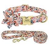 Beirui Collar y correa de perro personalizado para perros femeninos: collares de mascotas grabados con patrón floral con hebilla dorada personalizada (patrón naranja, XS)