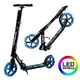 Apollo Patinete Urbano XXL Phantom Pro LED - Patinete de Grandes Ruedas de 200 m – City Scooter Plegable y Ajustable para Niños y Adultos