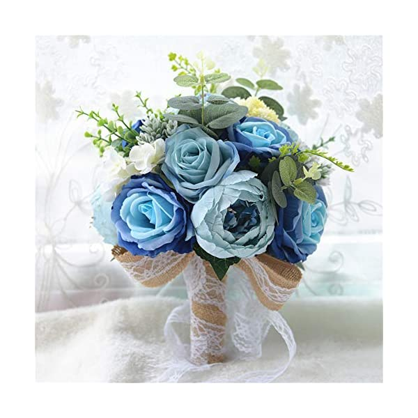 Kayard Rustic Wedding Bouquet,Artificial Silk Bride Bridal Bouquets,Handmade Satin Roses and Peony Wedding Flower D662