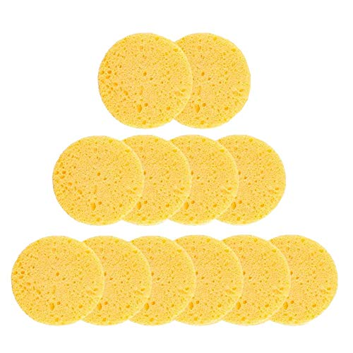 Facial Sponge,12 PCS Compressed Natural Cellulose Face sponge Reusable Professional Face Cleaning Sponge Pads for Facial Cleansing Exfoliating,Mask,Makeup Removal(yellow)